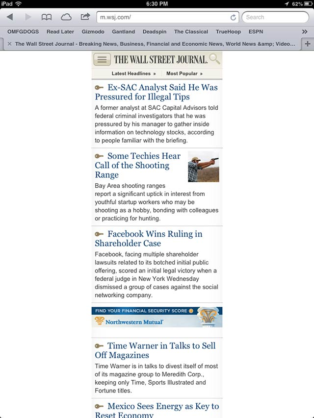 "The WSJ's ""iOS Optimized"" Mobile Site Is... Not Very Optimized"