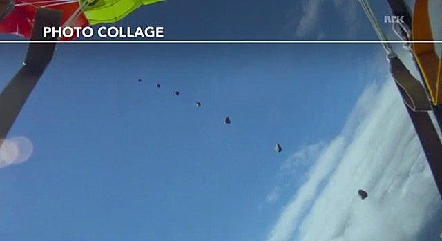 Video: Skydiver almost gets hit by meteorite