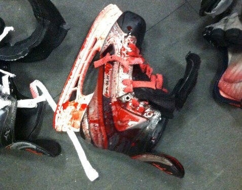 A Scary Minor League Hockey Injury Led To This Blood-Covered Skate