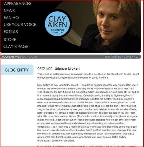 Clay Aiken Trashes American Idol, Adam Lambert