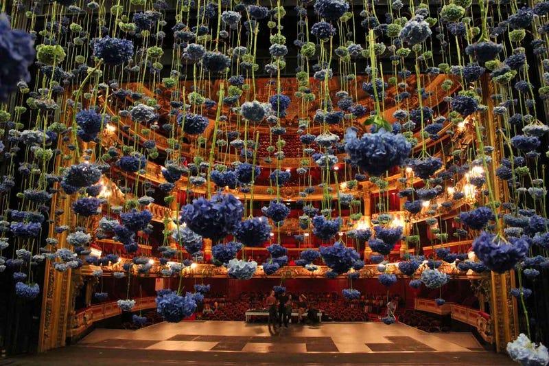 Massive floating flower installations