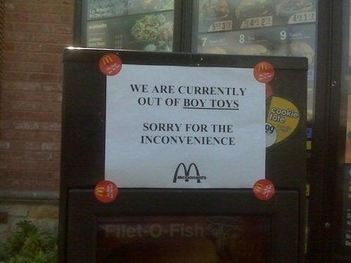 McDonald's Faces Boy Toy Shortage