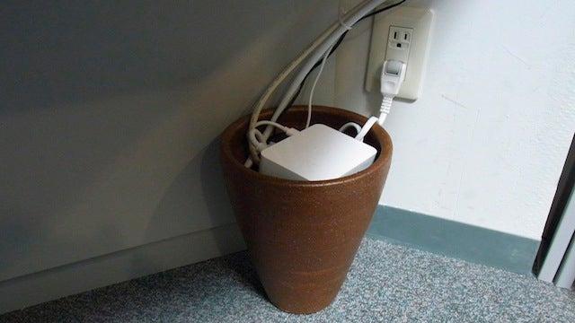 Use a Flower Pot to Tame Your Cable Clutter