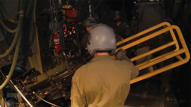Firing an artillery cannon from a plane looks as crazy as it sounds