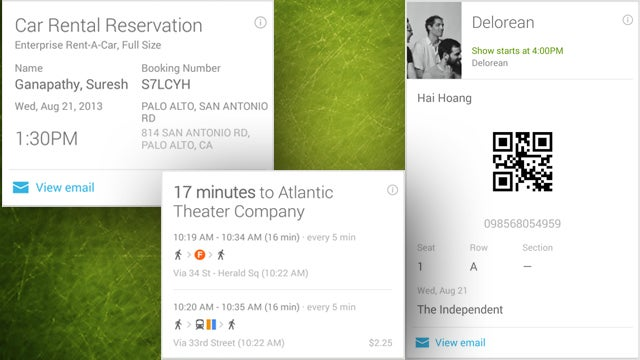 Google Now Adds Cards for Concerts, Car Rentals, Commuting, and More