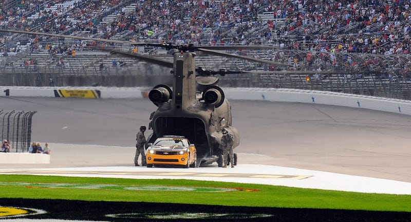 Astronaut Delivers Camaro Pace Car Via Chinook Helicopter