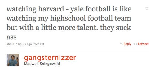 The 99th Percentile Bowl: 2009's Harvard-Yale Game, A Compiled Air-to-Ground Report