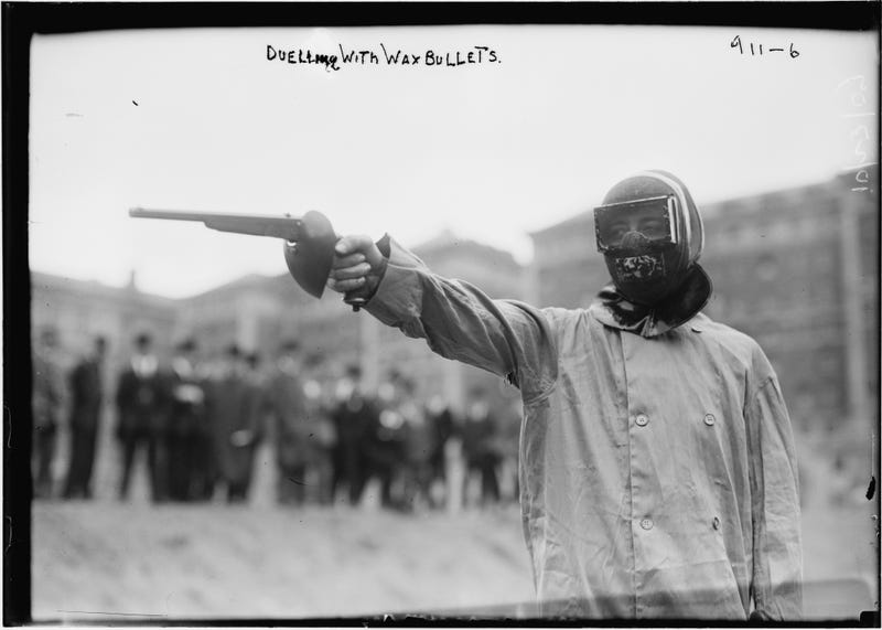 In 1909, you could fake-murder your friends in a wax bullet duel