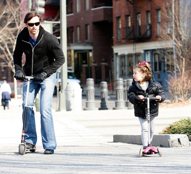 Hugh Jackman & Daughter Have A Wheely Good Time