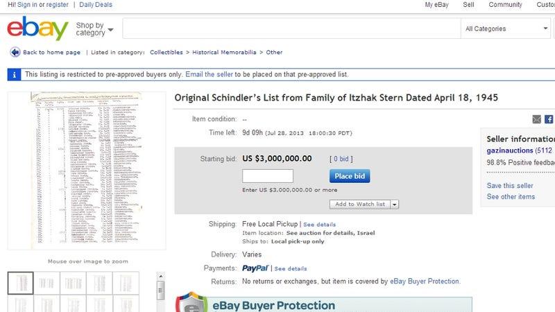 Schindler's List Up for Grabs on eBay