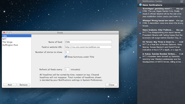 News Notifications Adds RSS Feeds to Mountain Lion's Notification Center