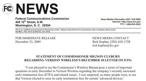 "The FCC Finds Verizon's Termination Fee Defense ""Troubling"""