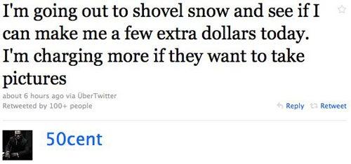 50 Cent Hustles During Snowpocalypse
