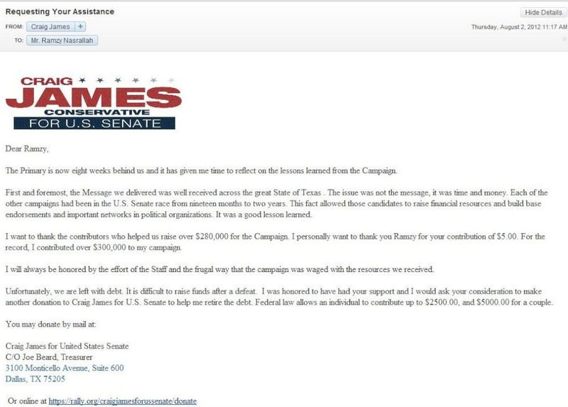 Craig James Is Broke And Asking His Former Campaign Donors For Money