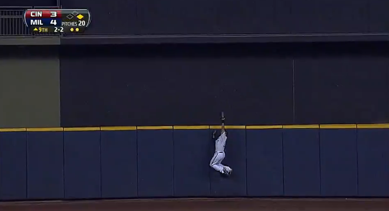 Carlos Gomez Steals Go-Ahead Home Run On Leaping Catch For Final Out
