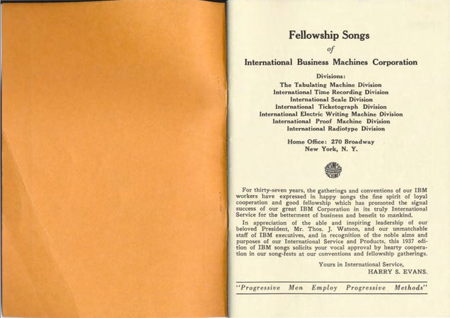 A Bizarre 1937 Corporate Songbook Sings the Praises of All-Glorious IBM