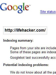 Check your web site's status on Google