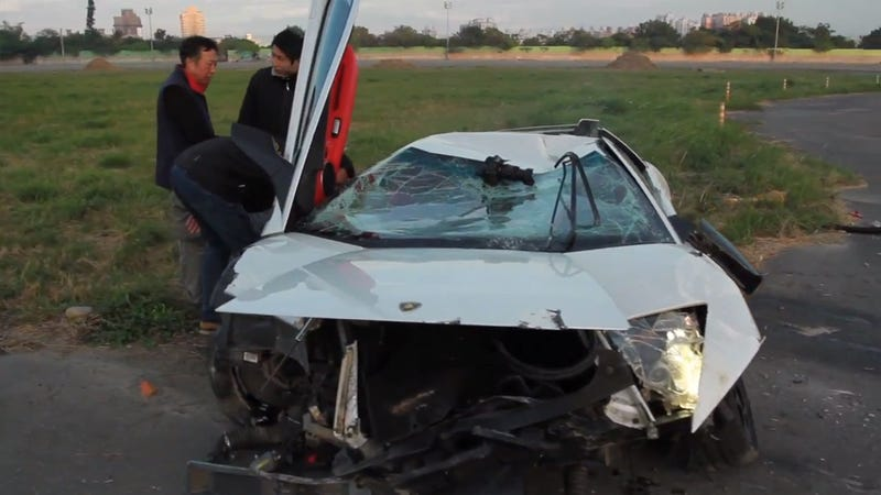 Lamborghini Crashes After Racing An R/C Helicopter