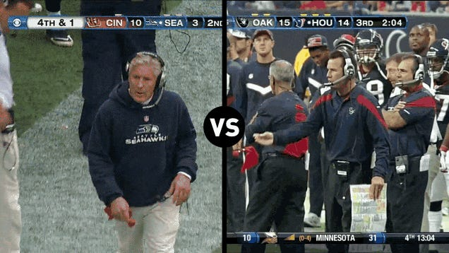 Who Has The Funnier Challenge-Flag-Throwing Motion, Pete Carroll Or Gary Kubiak?