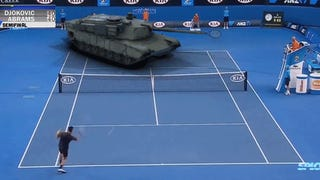 Djokovic plays an insane tennis match against a M1 Abrams tank