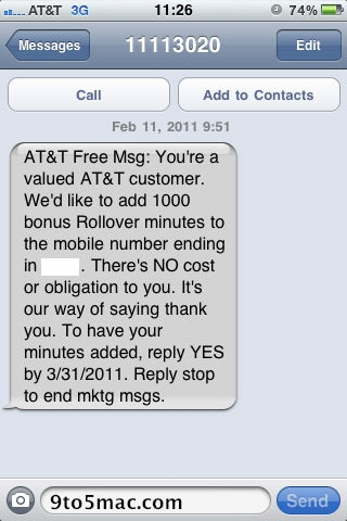 AT&T Gives 1000 Rollover Minutes To iPhone Users