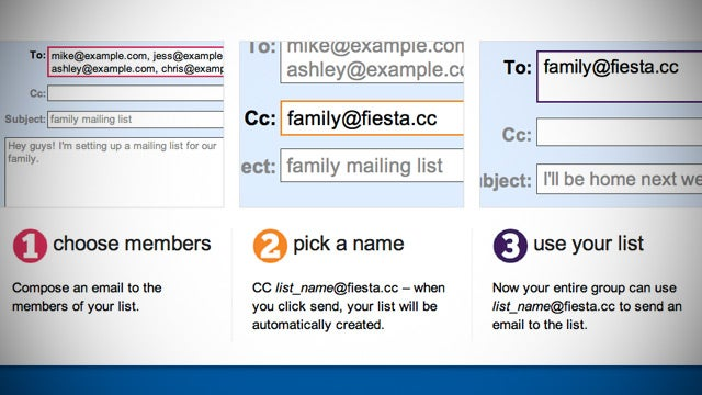 Fiesta Creates Group Email Lists in Three Steps Flat