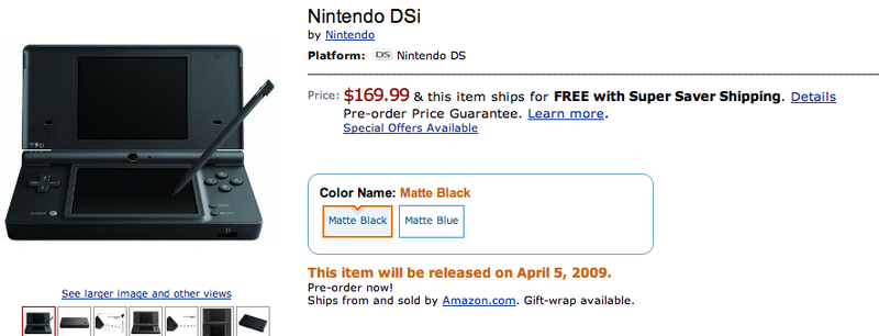 Nintendo DSi Now Available for Pre Order at Amazon and GameStop