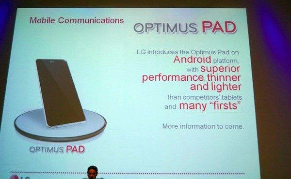 Rumor: LG's Optimus Pad Tablet Will Run on Dual-Core Tegra 2 Platform and Android Honeycomb