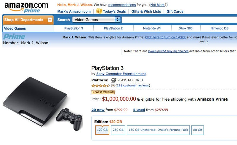 Price Drop! Amazon Selling PS3 Slim for Only $1,000,000!
