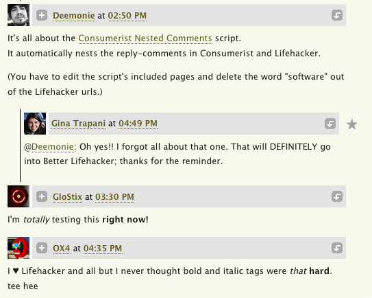 Better Lifehacker Gets Nested Comments and HTML Helpers