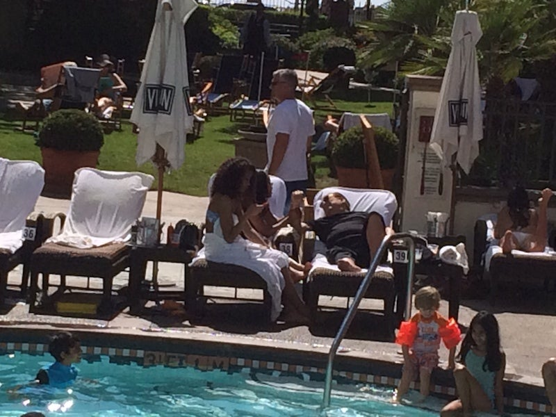 Donald Sterling Soaks In The Sun, Chats With Some Gals