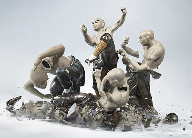 Incredible photographs capture the body-shattering war of the porcelain people