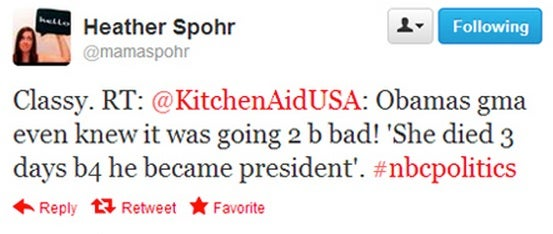 In Case You Missed It: KitchenAid Tweeted a Joke About Obama's Dead Grandmother (Har Har!)