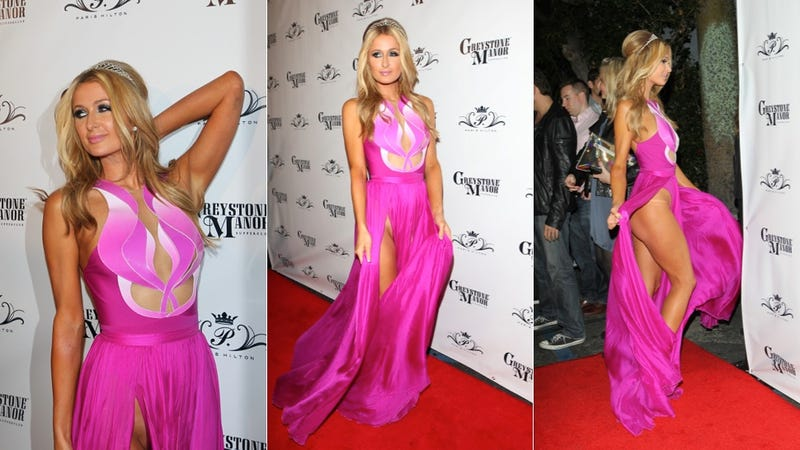 Paris Hilton Nearly Shows Off Labia in Stunning Vagina-Inspired Dress