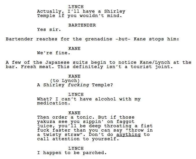 First Impressions Of The Kane & Lynch Movie Script