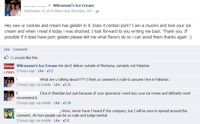 Montana Ice Cream Company Tells Local Muslim Customer 'We Don't Deliver to Pakistan'