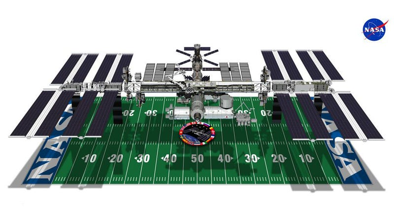 A football field compared to the International Space Station