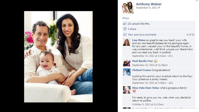 Woman Who Received Sexts from Anthony Weiner Shows Up on His Facebook Page to Apologize