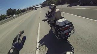 This Cop Did The Right Thing Running From A Pack Of Motorcycle Idiots