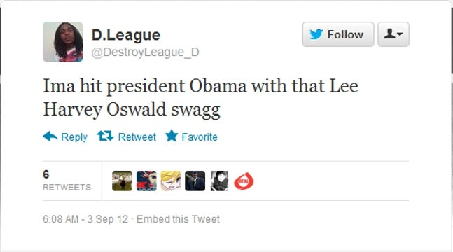 North Carolina Man Arrested After Tweeting Plans to 'Hit President Obama with That Lee Harvey Oswald Swagg'