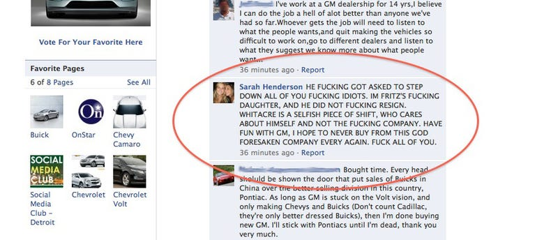 Daughter Of Resigned GM CEO Attacks New GM CEO On Facebook