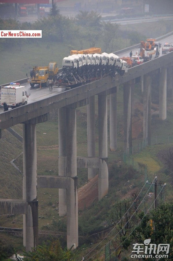 Truck Carrying Ten Smaller Trucks Nearly Falls Off Chinese Bridge