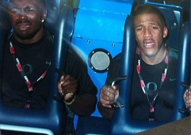 Here's LaMichael James Looking Terrified On A Roller Coaster
