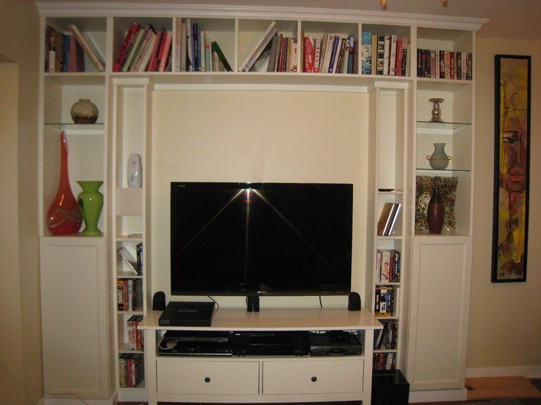 DIY Built-In Home Theater from IKEA Bookcases