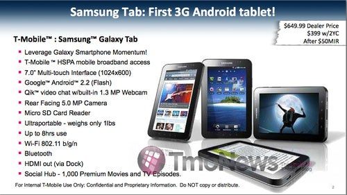 T-Mobile To Sell Galaxy Tab For $399 With 2-Year Contract