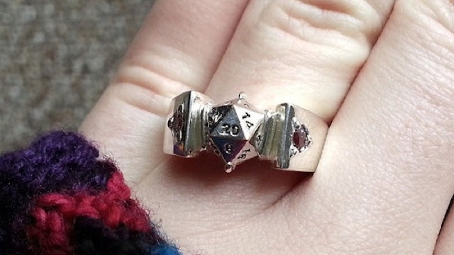 This d20 engagement ring is a critical hit