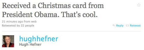 Hugh Hefner Is Psyched About His Xmas Card From President Obama
