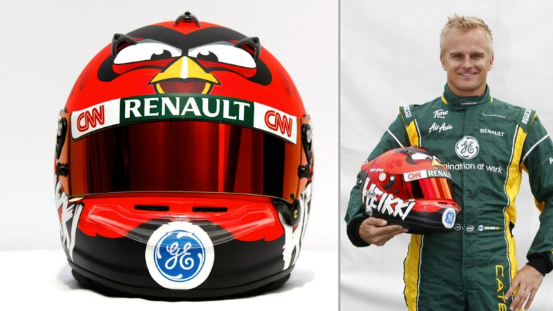 Heikki Kovalainen's Angry Birds F1 Helmet Is Ridiculously Awesome
