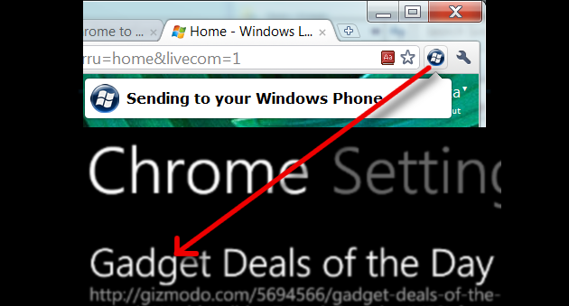 Chrome to Windows Phone 7 Pushes Links to Windows Phone 7 from Chrome