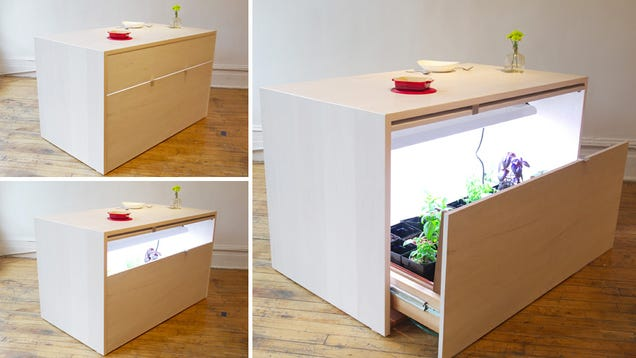 Hydroponics Island Lets You Secretly Grow All Kinds of Herbs In Your Kitchen